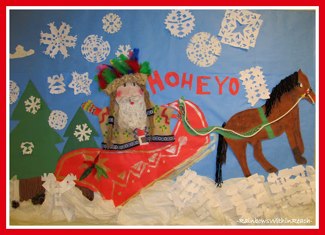 photo of: Multi-Cultural Santa Sleigh Ride Bulletin Board (Christmas Bulletin Board RoundUP via RainbowsWithinReach)