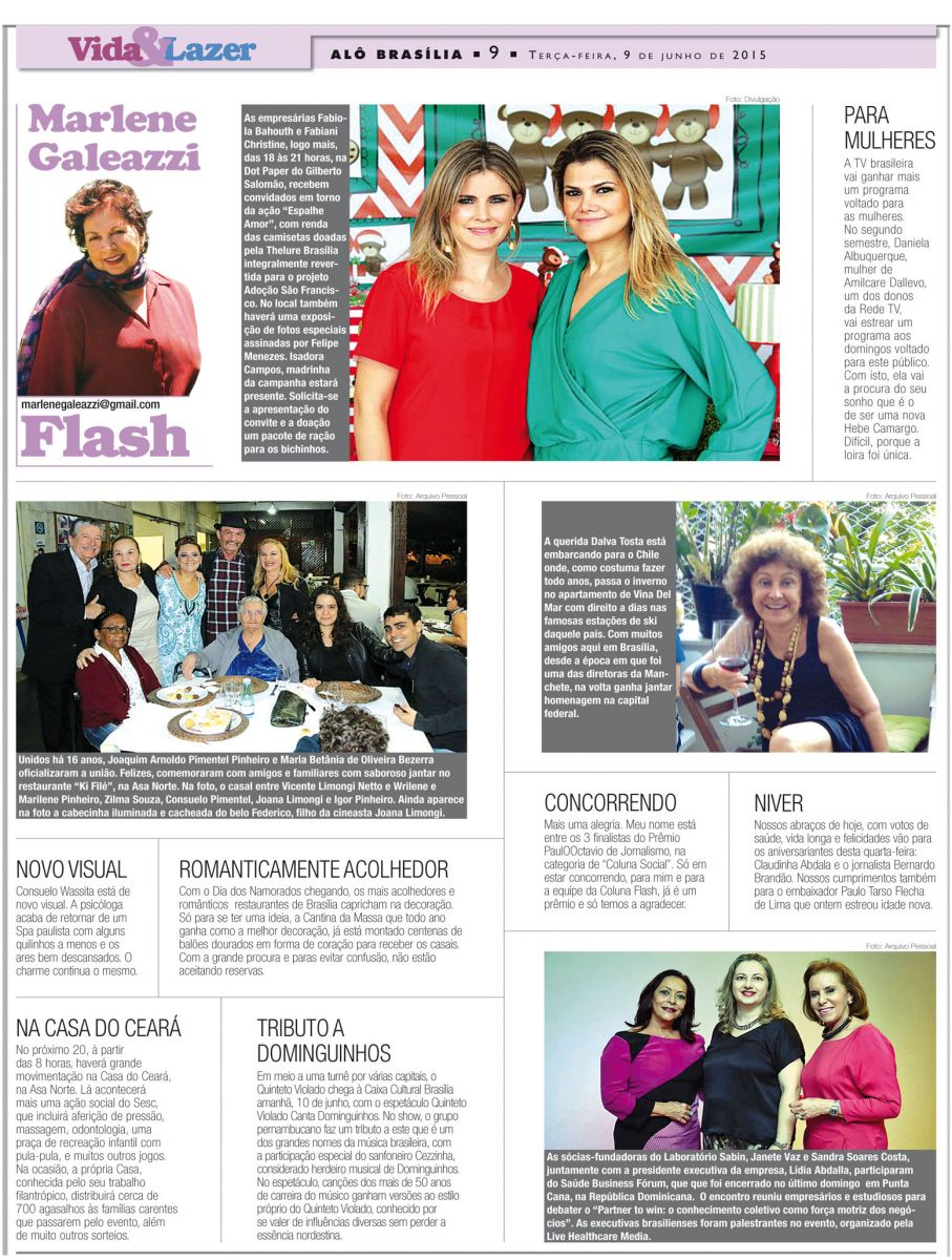 Marlene Galeazzi: MINHA COLUNA DE HOJE NO JORNAL AL? BRAS?LIA