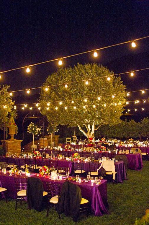 decoración para un matrimonio en la noche
