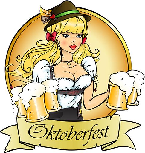 Chica alemana con cerveza vectorial