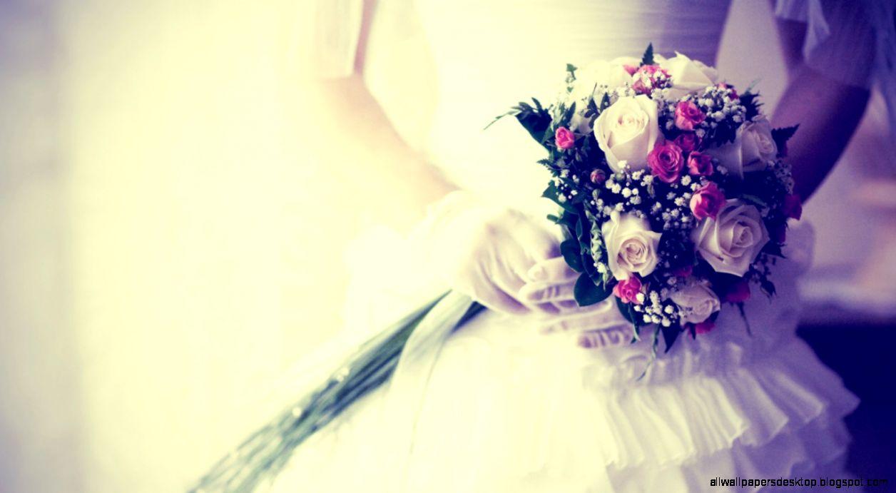 Download Wallpaper 1366x768 Bride Bouquet Flowers Gloves