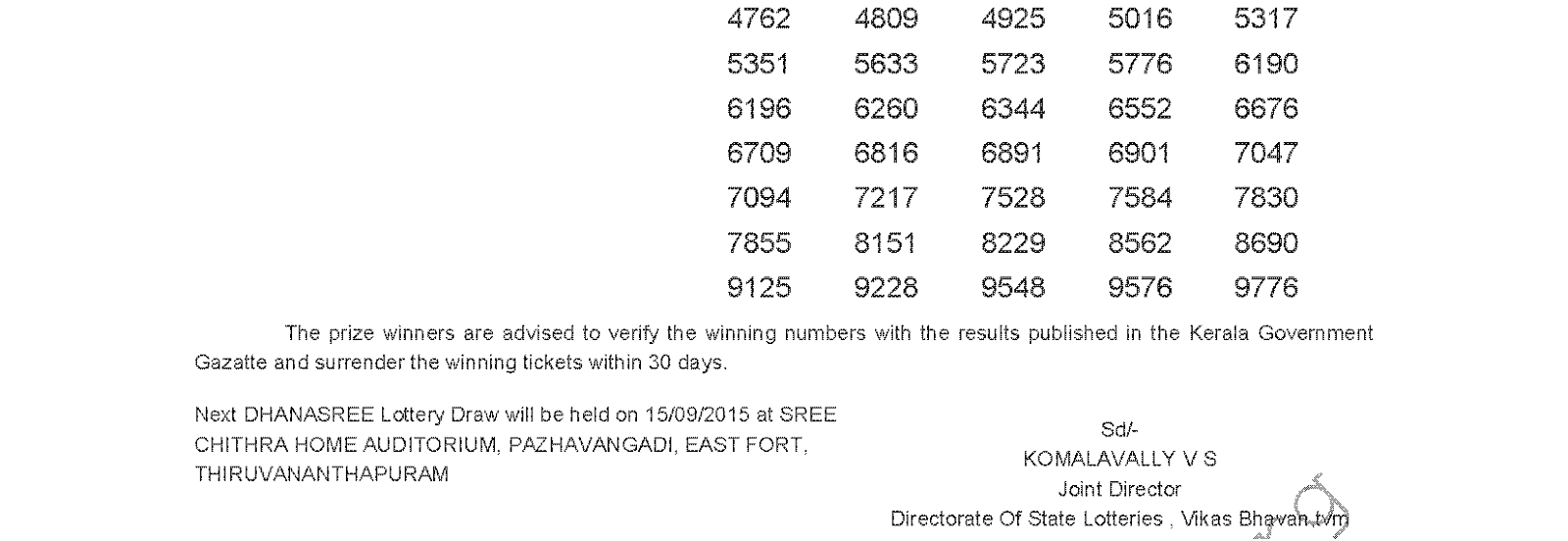 DHANASREE Lottery DS 202 Result 8-9-2015