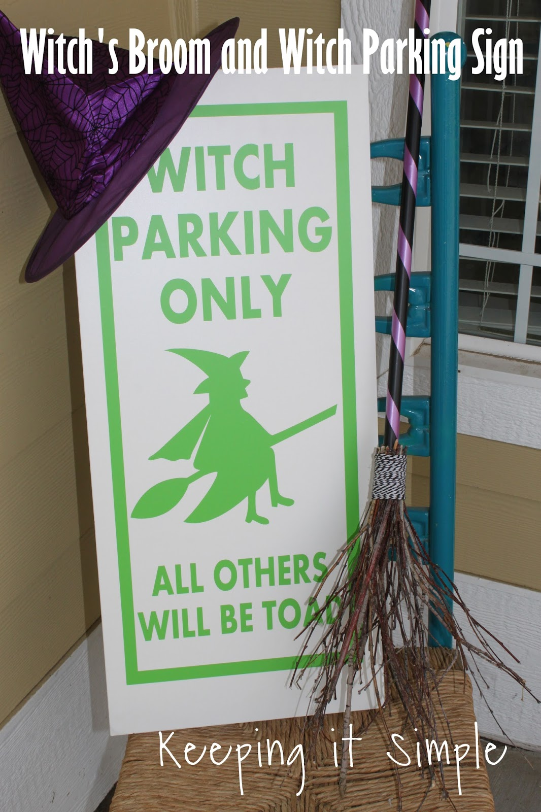 Halloween Porch Decor Idea Witch s Broom and Witch Parking