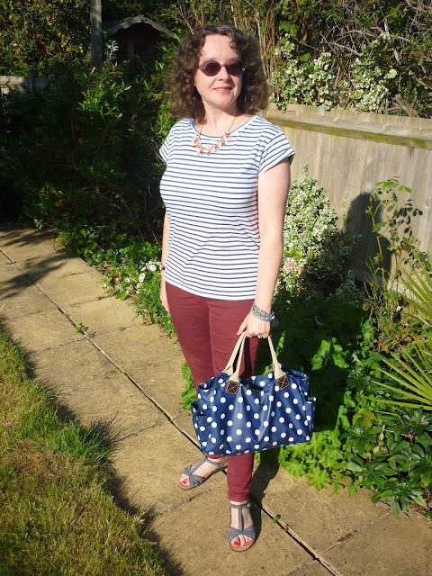 Ochre Skinny Jeans, Striped T-shirt, Polka Dot Bag | Petite Silver Vixen
