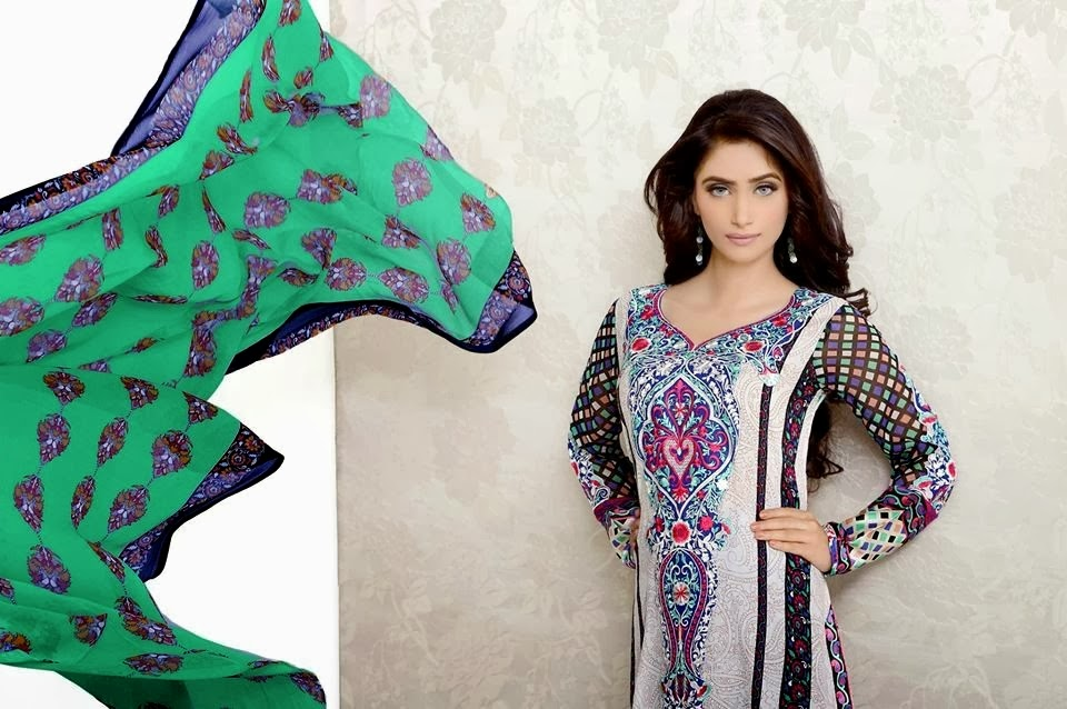 Black And White Printed Lawn Suit By Lala