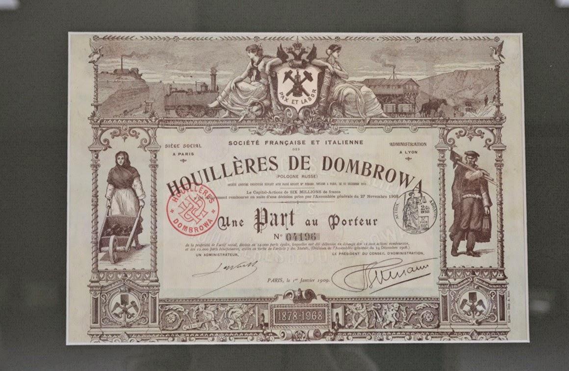 Share of Société Française et Italienne des Houillères de Dombrowa (Pologne Russe)