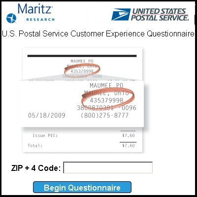 US Postal Service Customer Experience survey on PostalExperience.com/Pos