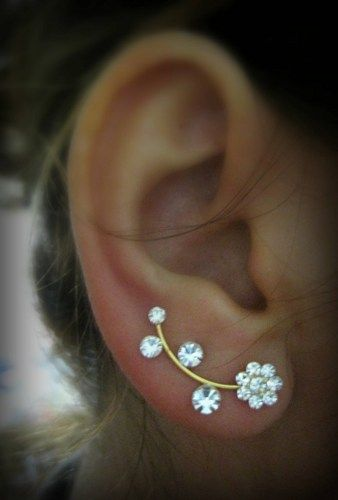 Ear Sweep Wrap - Cuff Earring with Swarovsky - Gold Filled- Flower