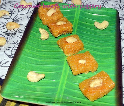 thengai burfi with vellam
