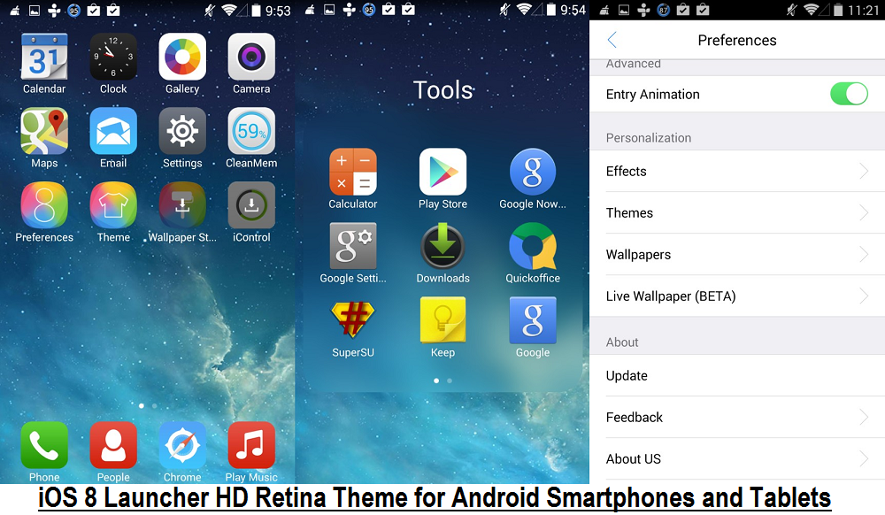 iOS 8 Launcher HD Retina Theme APK for Android