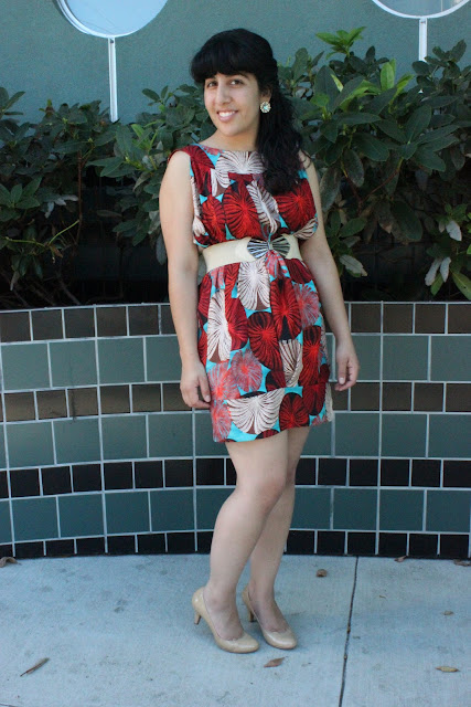 Coral and Turquoise Print Dress