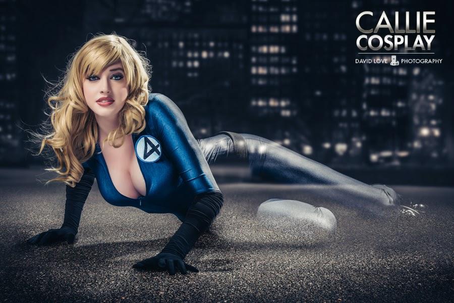cosplay féminin très sexy de Callie cosply de la femme invisible avec montage photo