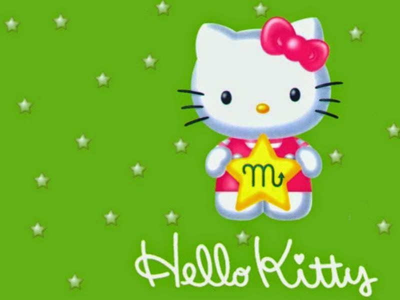 Gambar wallpaper Hello Kitty hijau gratis