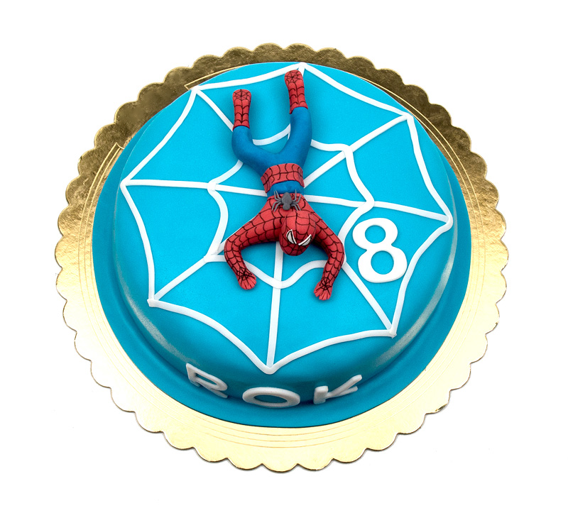 Torta Spiderman cake fondant topper top view