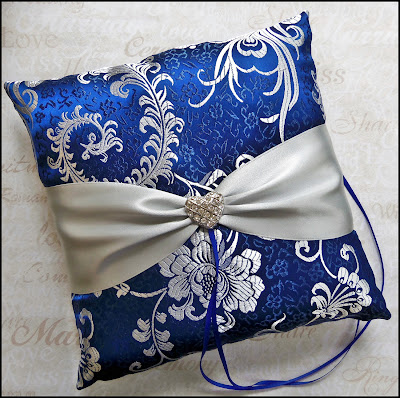 royal blue ring bearer pillow