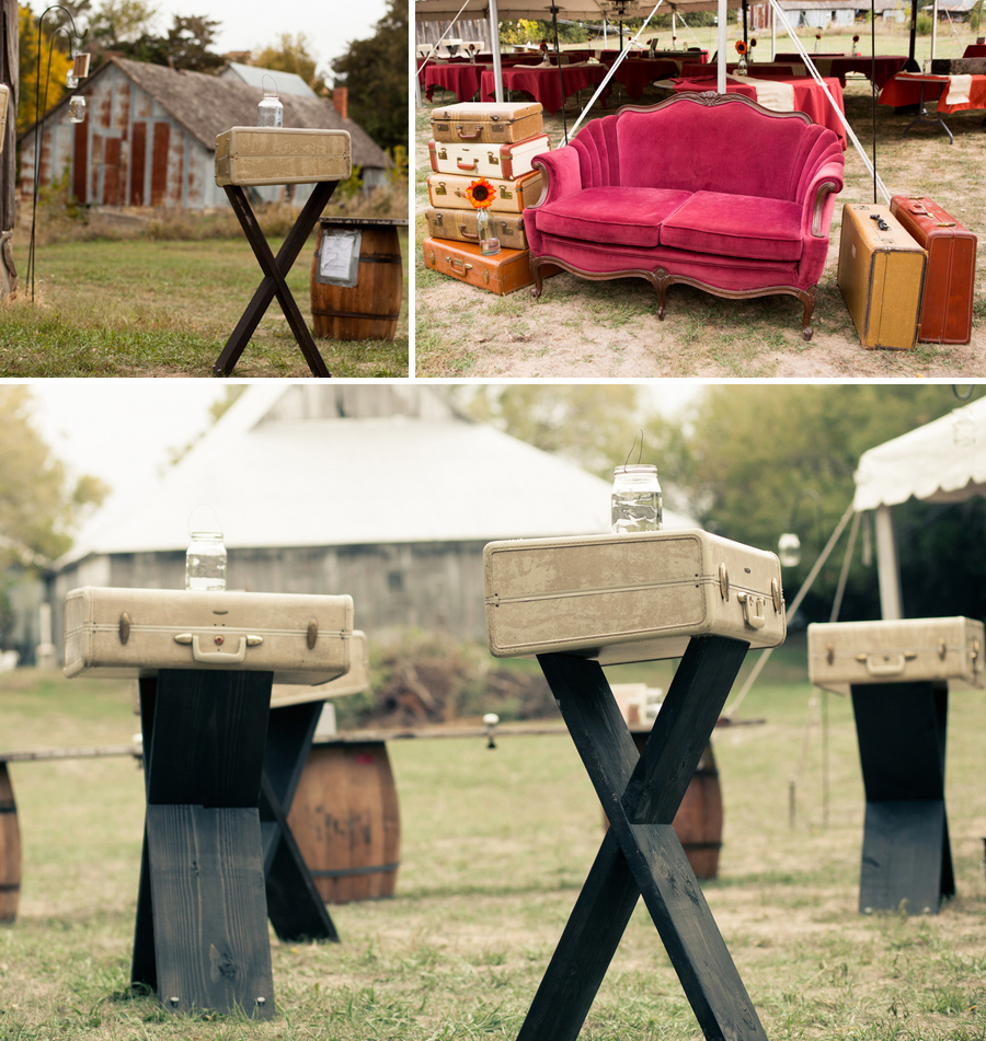diy wedding, vintage luggage highboys