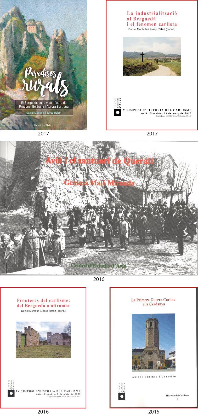 Llibres editats pel Centre d'Estudis d'Avià