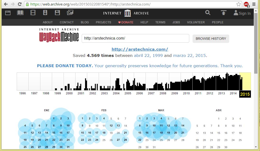 Diferentes versiones de una página guardadas por el Wayback Machine