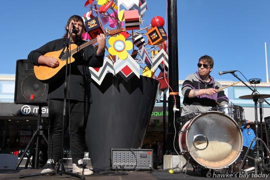 Some of the artists competing in a Busk Off competition in Market St, Napier, part of the Napier in the City winter celebrations. photograph