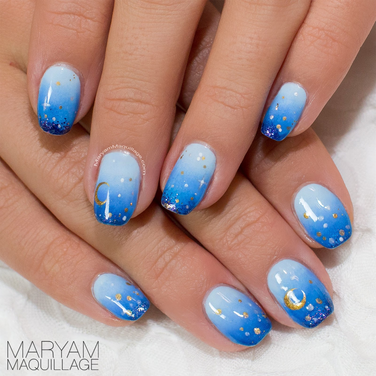 Maryam maquillage white nights ombr nail art for Nageldesign ombre