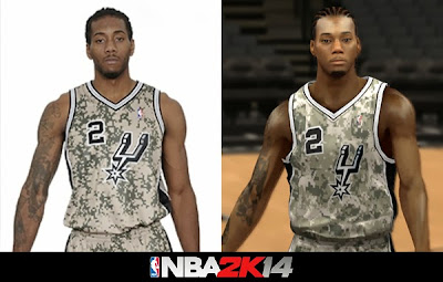 Real Jersey vs 2K Mod Jersey - NBA 2K14 Spurs Camo