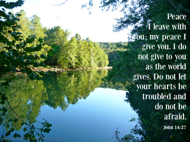 Food for the Soul ~ Peace I leave with you; my peace I give you. I do not give to you as the world gives. Do not let your hearts be troubled and do not be afraid. ~ John 14:27