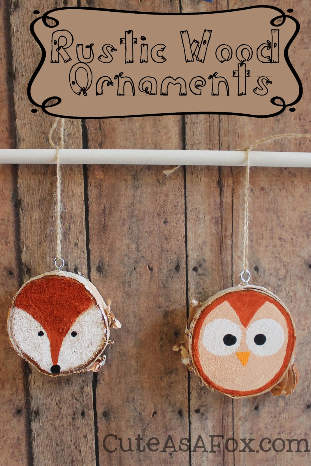 Rustic Hand Painted Woodland Creature Ornaments