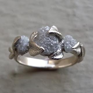 Three Diamond Raw Uncut Rough Diamond Engagement Ring