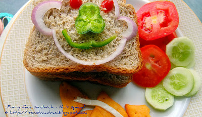 Kids delight no fire cooking roundup 1 dedicated to janaki paati funny face wholewheat sandwich forumfinder Gallery