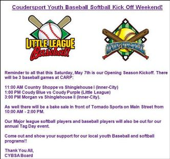 5-7 Coudersport Baseball Softball Kick Off