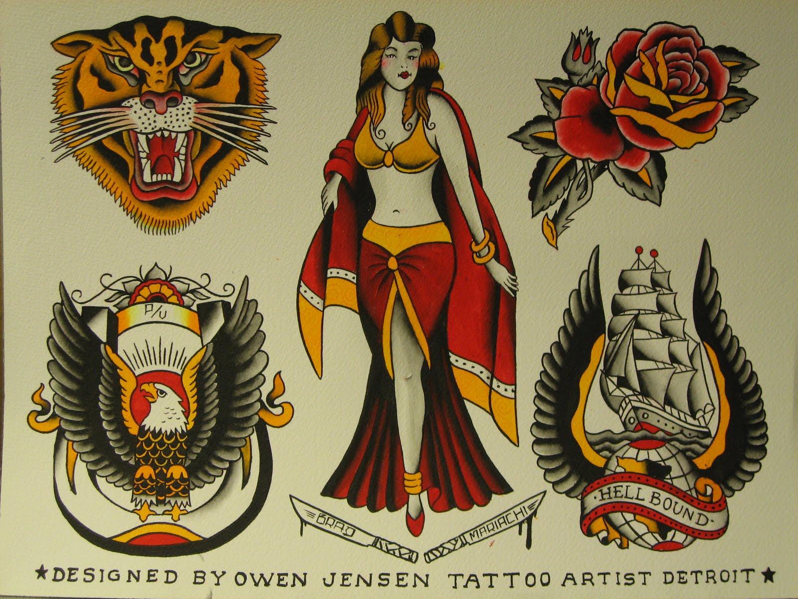 Speedboys owen jensen and dainty dotty jensen for Traditional tattoo flash