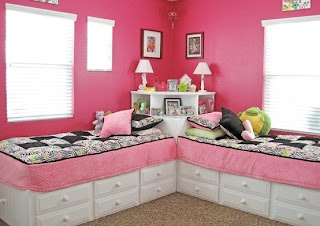 Diseño de dormitorio rosa para hermanas