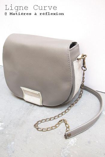 Soldes cuir sacs mini curve gris métallisé Matières à réflexion sac vintage neuf