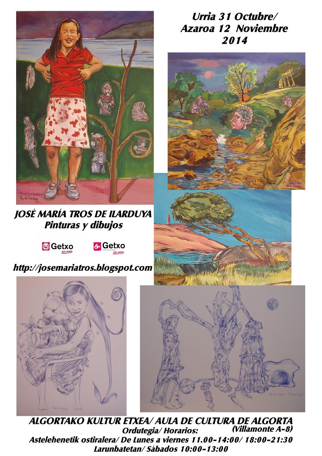 """Cartel de la exposición en el Aula de cultura de Getxo y obras de la serie """"Mitoclasicismos"""""""