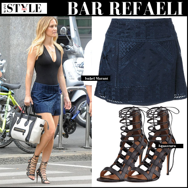Bar Refaeli in black top, blue wrap mini Isabel Marant Andy skirt and black strappy sandals Aquazzura Amazon streetstyle