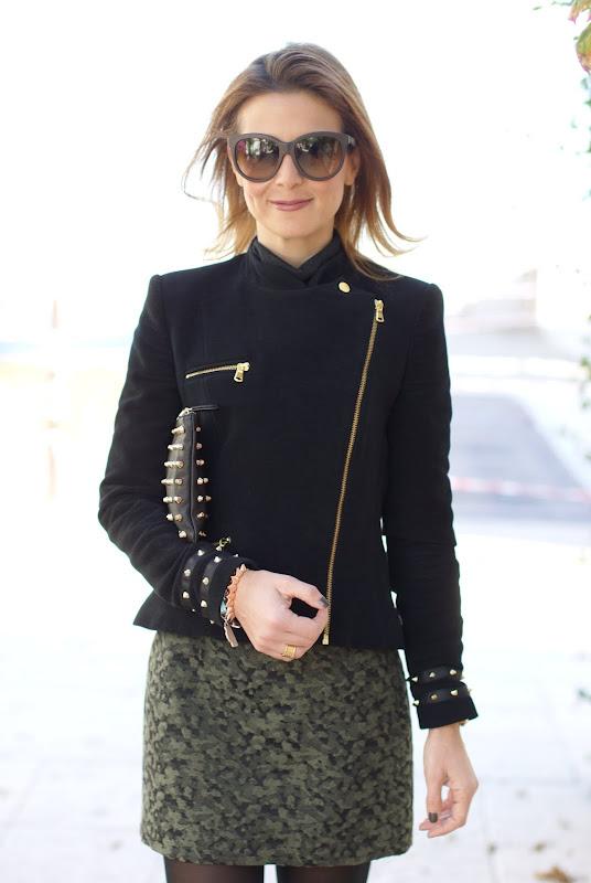 Zara biker jacket, camouflage print miniskirt