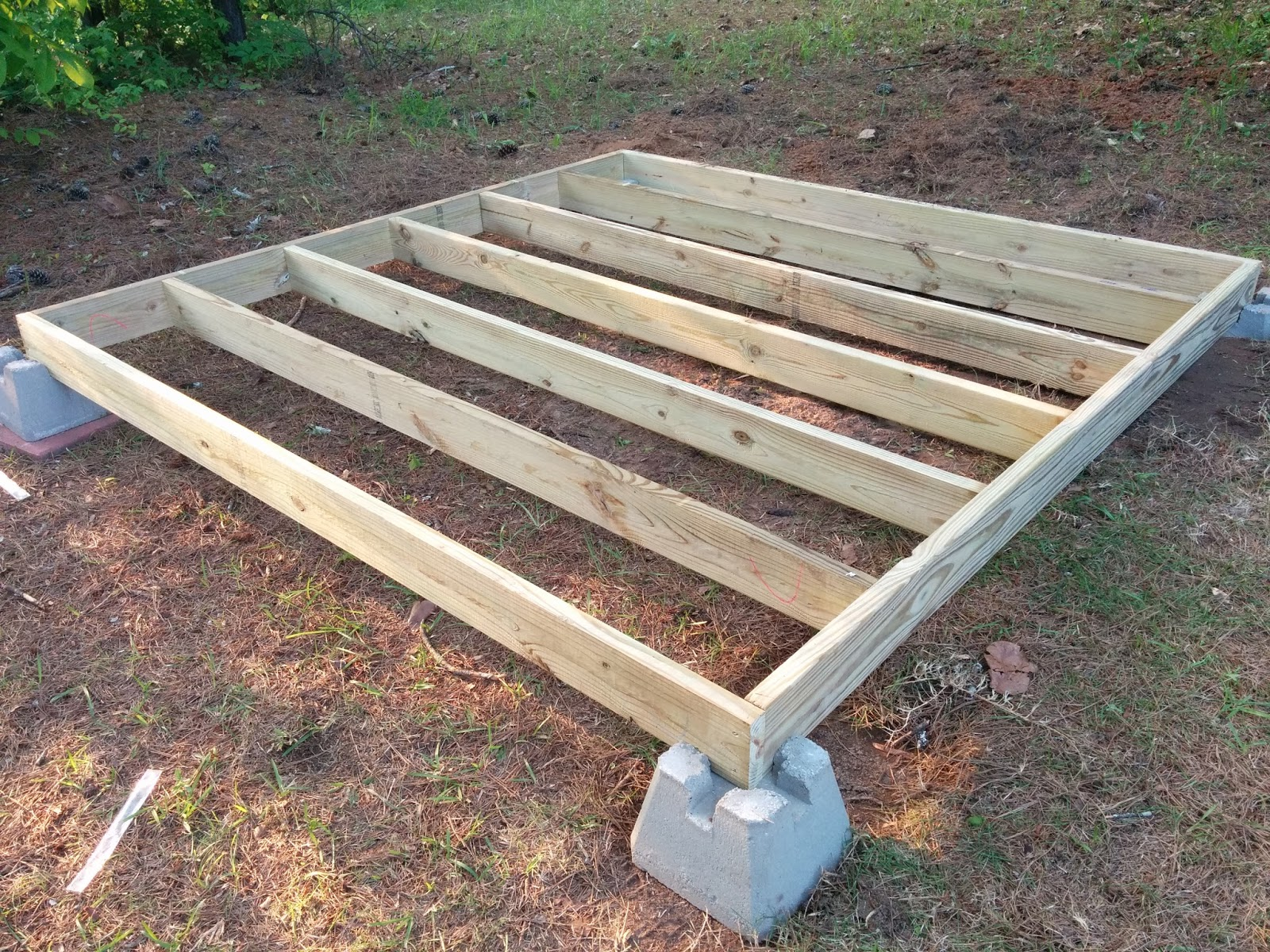 Shed foundation concrete blocks spacing Floating deck cinder blocks