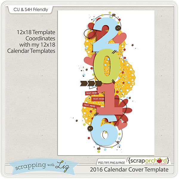 Calendar Cover Page Template : Scrapping with liz calendar cover freebie