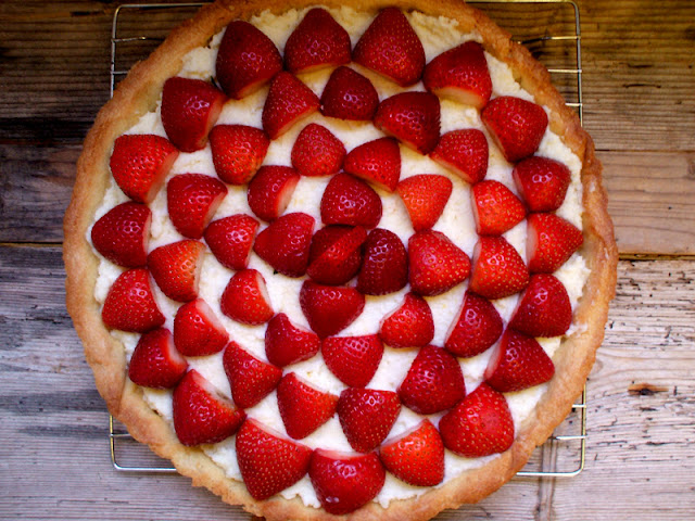 Strawberry Mascarpone Tart with Almond Shortbread Crust