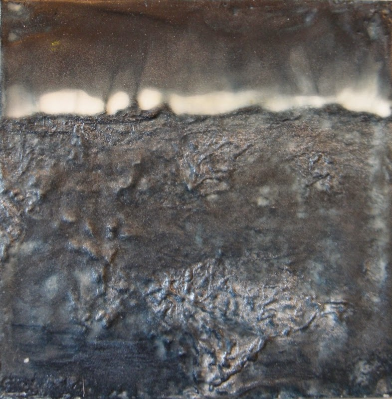 moon rising over water, mixed media encaustic, landscape