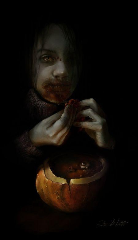 Ania Mitura DalisaAnja deviantart ilustrações fantasia sombria Halloween