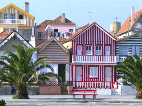 colorful striped houses in Costa Nova