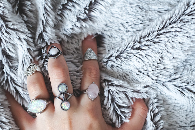 Primark Faux Opal Tribal Silver Stack Midi Rings Sun Moon