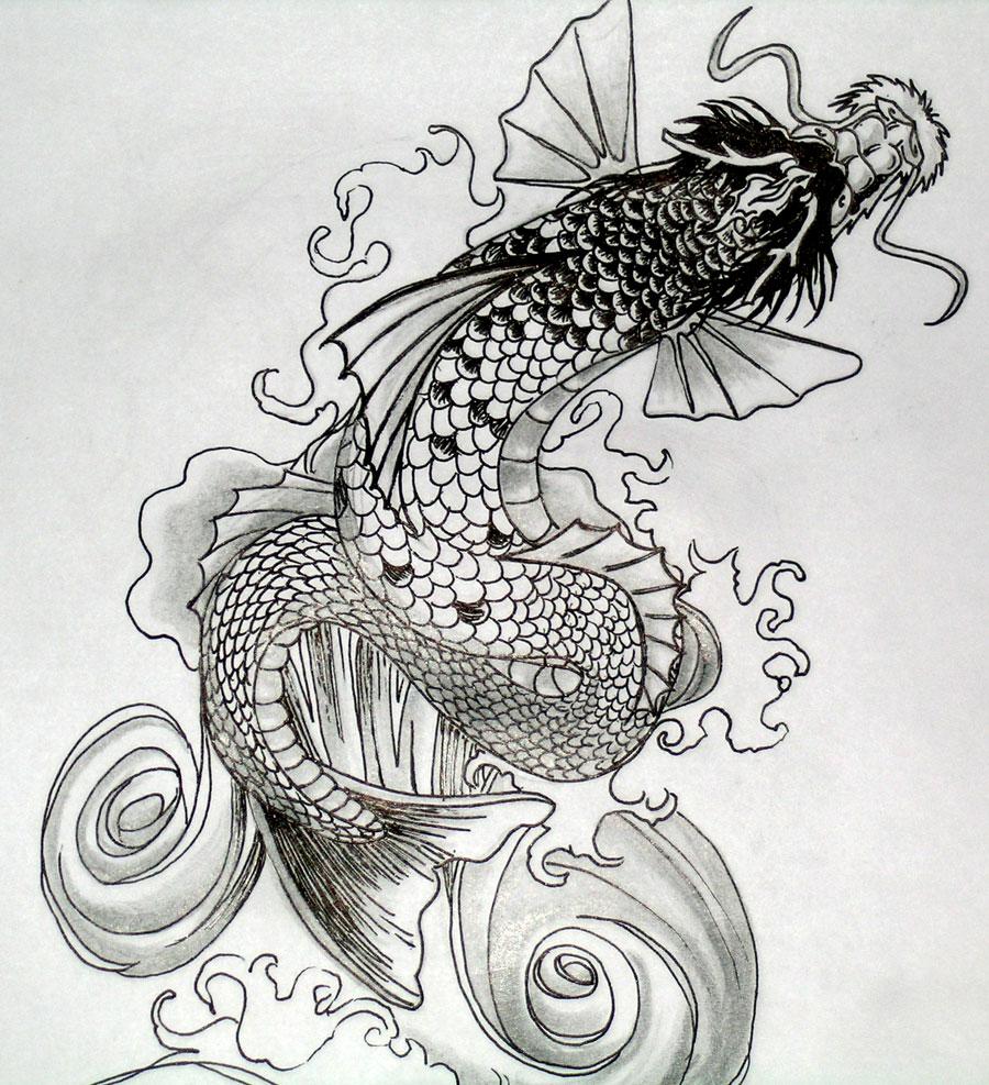Japanese Dragon Koi Tattoo Designs
