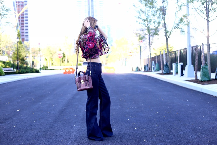 NastyGal embroidered top with flare sleeve, 7fam flare jeans, 31phillip lim mini pashli bag, baublebar earrings, wear panda sunglasses, street style, new york city, fashion blog, nyc fashion blog, new york fashion week, trends, 70s inspired outfit, retro style