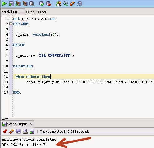 DBA University Blog: How to print line numbers in PL/SQL