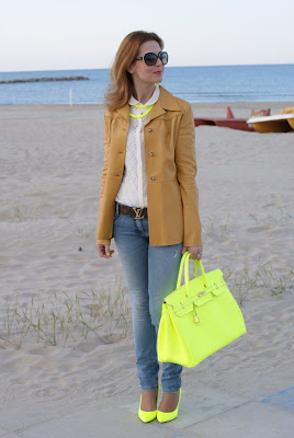 neon yellow, neutral colors