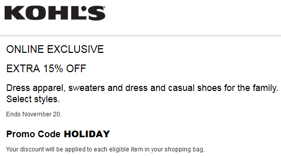Kohl's Extra 15% off dress apparel