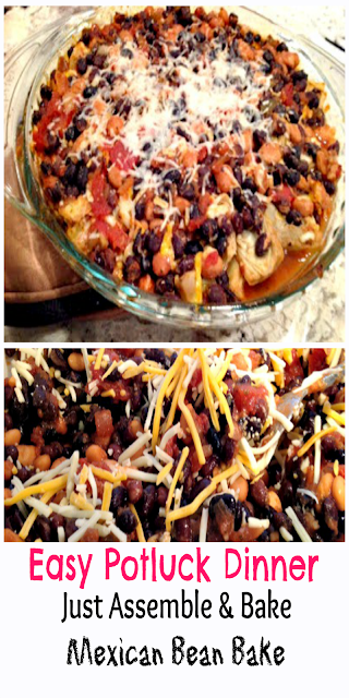 Pyrex bowl filled with Mexican beans and Cheese