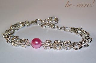 bransoletka chainmaille z perełką